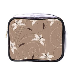 Star Flower Floral Grey Leaf Mini Toiletries Bags