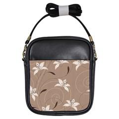 Star Flower Floral Grey Leaf Girls Sling Bags