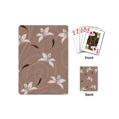 Star Flower Floral Grey Leaf Playing Cards (Mini)