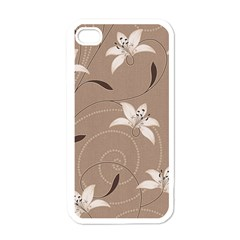 Star Flower Floral Grey Leaf Apple iPhone 4 Case (White)