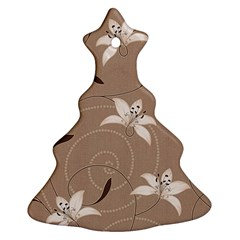 Star Flower Floral Grey Leaf Ornament (Christmas Tree)