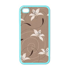 Star Flower Floral Grey Leaf Apple iPhone 4 Case (Color)