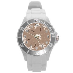 Star Flower Floral Grey Leaf Round Plastic Sport Watch (L)