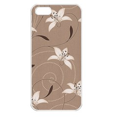 Star Flower Floral Grey Leaf Apple iPhone 5 Seamless Case (White)