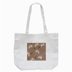 Star Flower Floral Grey Leaf Tote Bag (White)