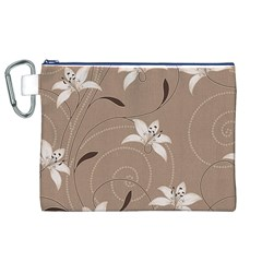 Star Flower Floral Grey Leaf Canvas Cosmetic Bag (XL)