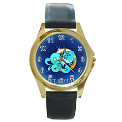Zodiac Aquarius Round Gold Metal Watch