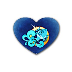 Zodiac Aquarius Rubber Coaster (Heart)