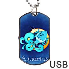 Zodiac Aquarius Dog Tag USB Flash (Two Sides)