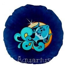 Zodiac Aquarius Large 18  Premium Round Cushions