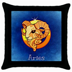 Zodiac Aries Throw Pillow Case (Black)