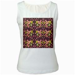 Floral pattern Women s White Tank Top