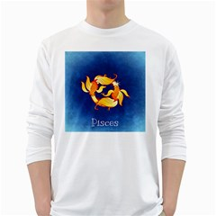 Zodiac Pisces White Long Sleeve T-Shirts