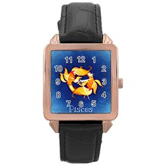 Zodiac Pisces Rose Gold Leather Watch