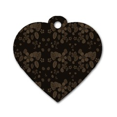 Floral pattern Dog Tag Heart (One Side)