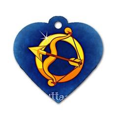 Zodiac Sagittarius Dog Tag Heart (One Side)
