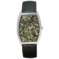 Army Camouflage Barrel Style Metal Watch