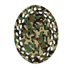 Army Camouflage Oval Filigree Ornament (Two Sides)