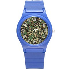 Army Camouflage Round Plastic Sport Watch (S)