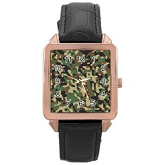 Army Camouflage Rose Gold Leather Watch