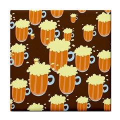 A Fun Cartoon Frothy Beer Tiling Pattern Tile Coasters