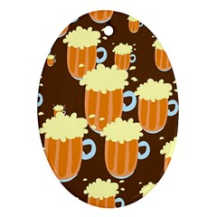 A Fun Cartoon Frothy Beer Tiling Pattern Ornament (oval)