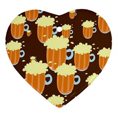 A Fun Cartoon Frothy Beer Tiling Pattern Ornament (Heart)