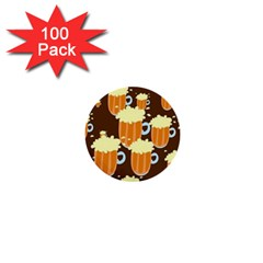 A Fun Cartoon Frothy Beer Tiling Pattern 1  Mini Buttons (100 Pack)