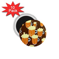 A Fun Cartoon Frothy Beer Tiling Pattern 1.75  Magnets (10 pack)