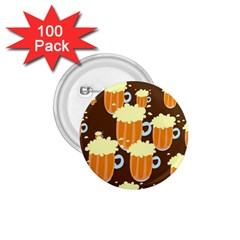 A Fun Cartoon Frothy Beer Tiling Pattern 1 75  Buttons (100 Pack)