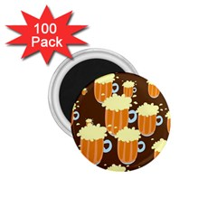 A Fun Cartoon Frothy Beer Tiling Pattern 1.75  Magnets (100 pack)