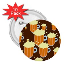 A Fun Cartoon Frothy Beer Tiling Pattern 2 25  Buttons (10 Pack)