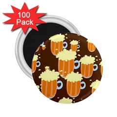 A Fun Cartoon Frothy Beer Tiling Pattern 2.25  Magnets (100 pack)