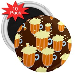 A Fun Cartoon Frothy Beer Tiling Pattern 3  Magnets (10 Pack)