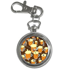 A Fun Cartoon Frothy Beer Tiling Pattern Key Chain Watches