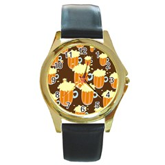 A Fun Cartoon Frothy Beer Tiling Pattern Round Gold Metal Watch