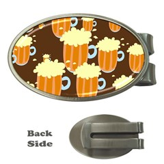 A Fun Cartoon Frothy Beer Tiling Pattern Money Clips (oval)