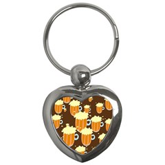 A Fun Cartoon Frothy Beer Tiling Pattern Key Chains (heart)