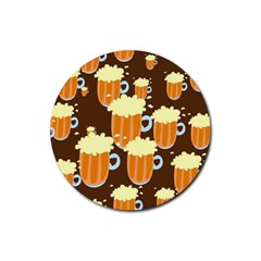 A Fun Cartoon Frothy Beer Tiling Pattern Rubber Coaster (Round)