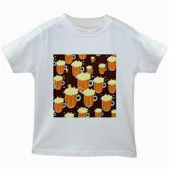 A Fun Cartoon Frothy Beer Tiling Pattern Kids White T Shirts