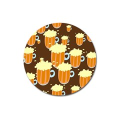 A Fun Cartoon Frothy Beer Tiling Pattern Magnet 3  (Round)