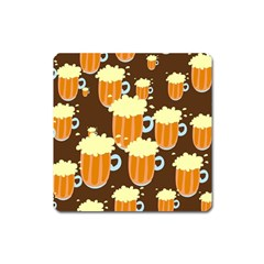 A Fun Cartoon Frothy Beer Tiling Pattern Square Magnet