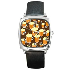 A Fun Cartoon Frothy Beer Tiling Pattern Square Metal Watch