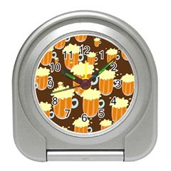 A Fun Cartoon Frothy Beer Tiling Pattern Travel Alarm Clocks
