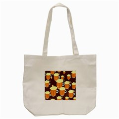 A Fun Cartoon Frothy Beer Tiling Pattern Tote Bag (cream)