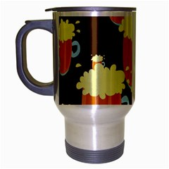 A Fun Cartoon Frothy Beer Tiling Pattern Travel Mug (Silver Gray)