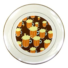A Fun Cartoon Frothy Beer Tiling Pattern Porcelain Plates