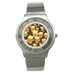 A Fun Cartoon Frothy Beer Tiling Pattern Stainless Steel Watch