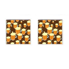 A Fun Cartoon Frothy Beer Tiling Pattern Cufflinks (square)