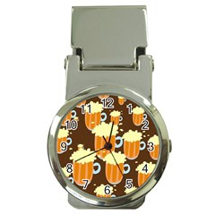 A Fun Cartoon Frothy Beer Tiling Pattern Money Clip Watches